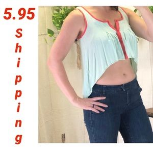 Tea n cup high low cropped tank, mint and coral